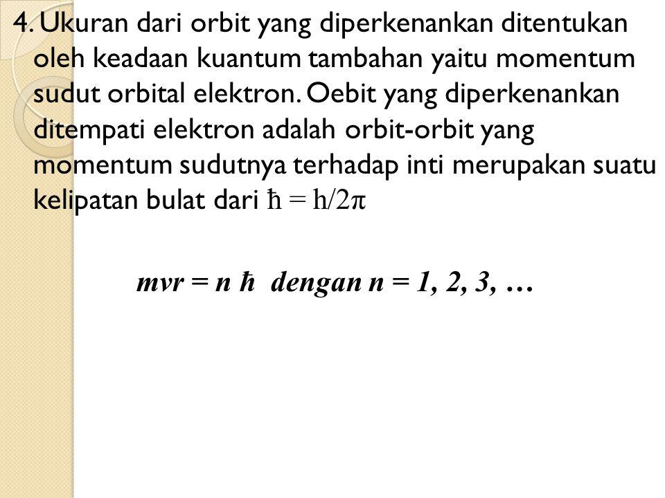 4. Ukuran dari orbit yang diperkenankan ditentukan oleh keadaan kuantum tambahan yaitu momentum sudut orbital elektron. Oebit yang diperkenankan ditem