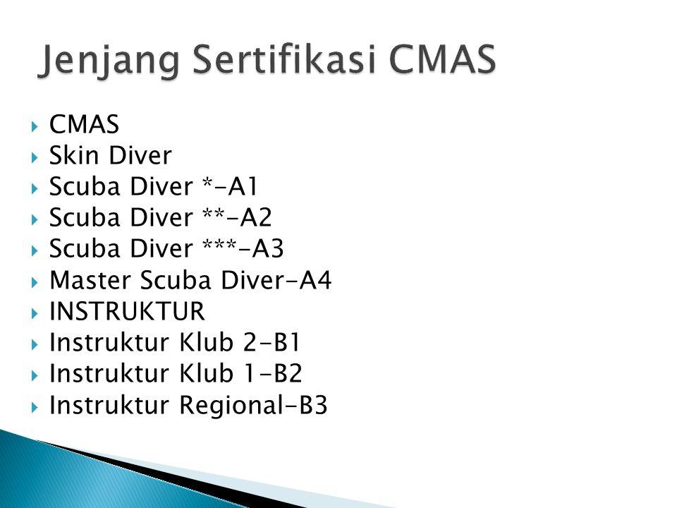  CMAS  Skin Diver  Scuba Diver *-A1  Scuba Diver **-A2  Scuba Diver ***-A3  Master Scuba Diver-A4  INSTRUKTUR  Instruktur Klub 2-B1  Instrukt