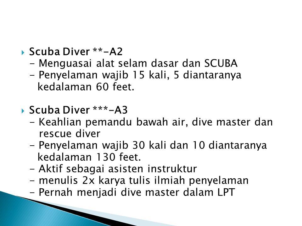  Scuba Diver **-A2 - Menguasai alat selam dasar dan SCUBA - Penyelaman wajib 15 kali, 5 diantaranya kedalaman 60 feet.  Scuba Diver ***-A3 - Keahlia