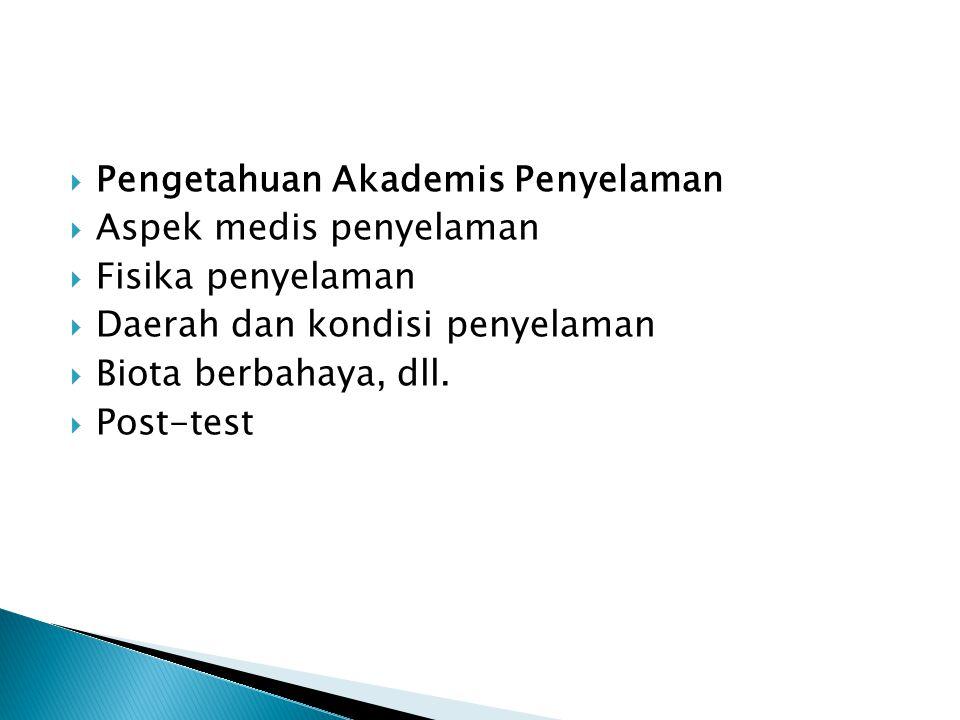  Pengetahuan Akademis Penyelaman  Aspek medis penyelaman  Fisika penyelaman  Daerah dan kondisi penyelaman  Biota berbahaya, dll.  Post-test