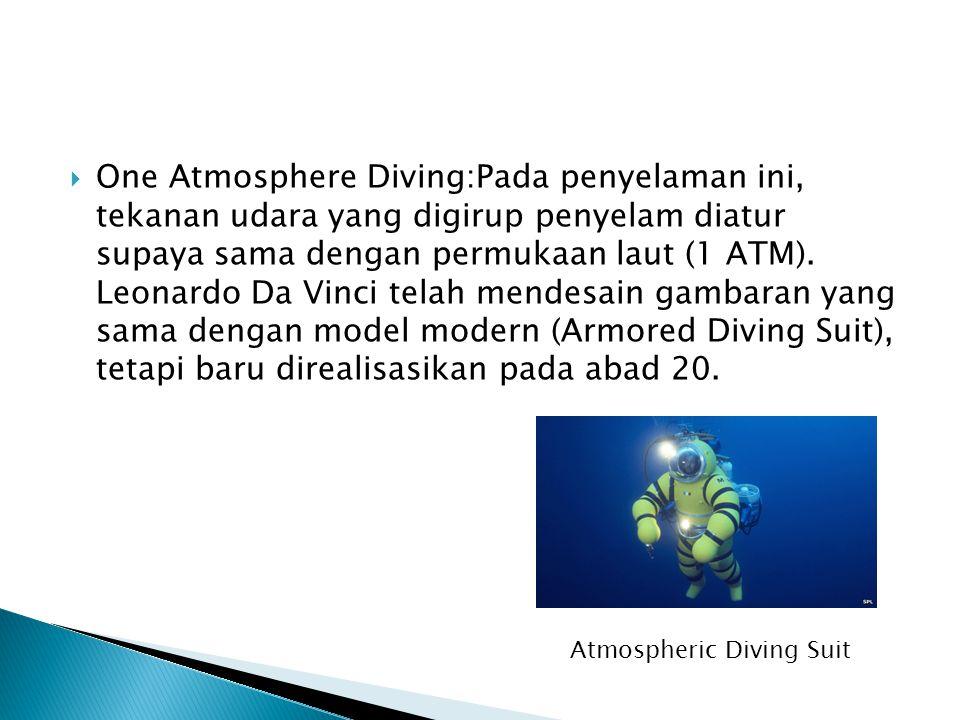  One Atmosphere Diving:Pada penyelaman ini, tekanan udara yang digirup penyelam diatur supaya sama dengan permukaan laut (1 ATM). Leonardo Da Vinci t