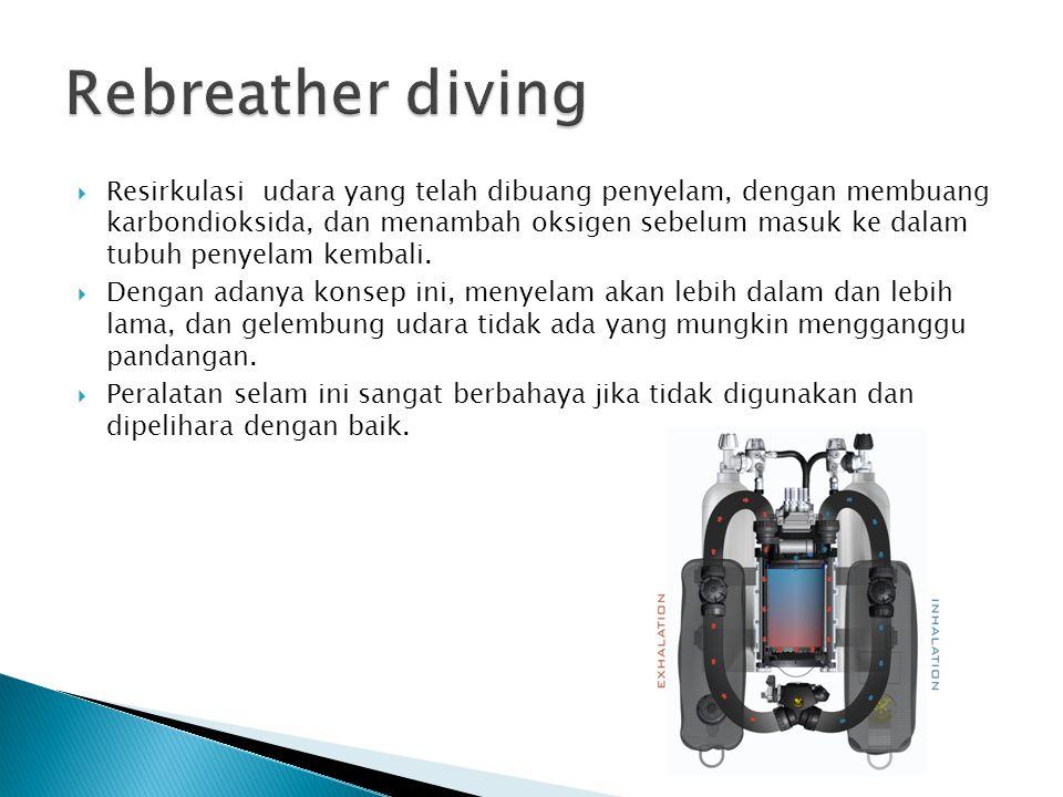  Resirkulasi udara yang telah dibuang penyelam, dengan membuang karbondioksida, dan menambah oksigen sebelum masuk ke dalam tubuh penyelam kembali. 