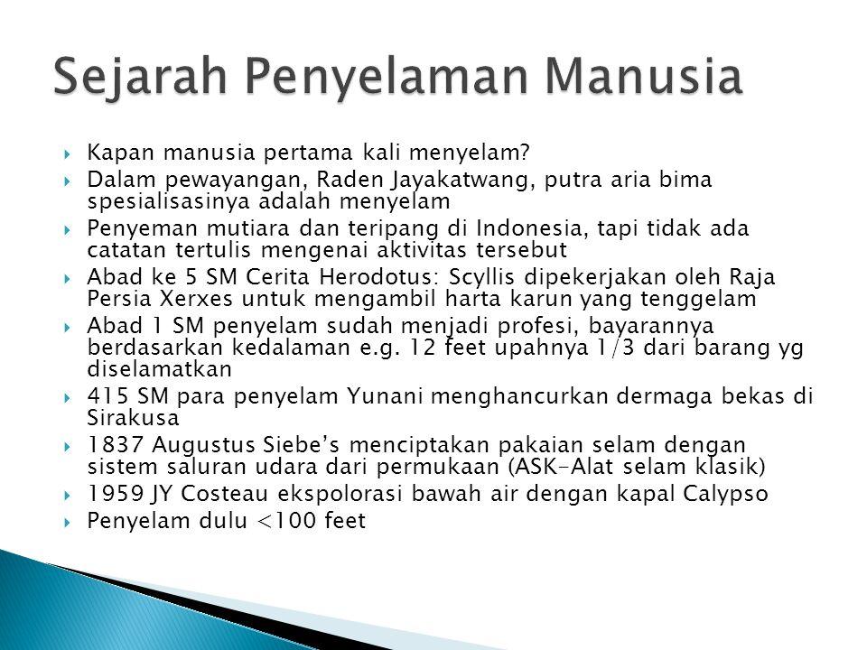  Kapan manusia pertama kali menyelam?  Dalam pewayangan, Raden Jayakatwang, putra aria bima spesialisasinya adalah menyelam  Penyeman mutiara dan t