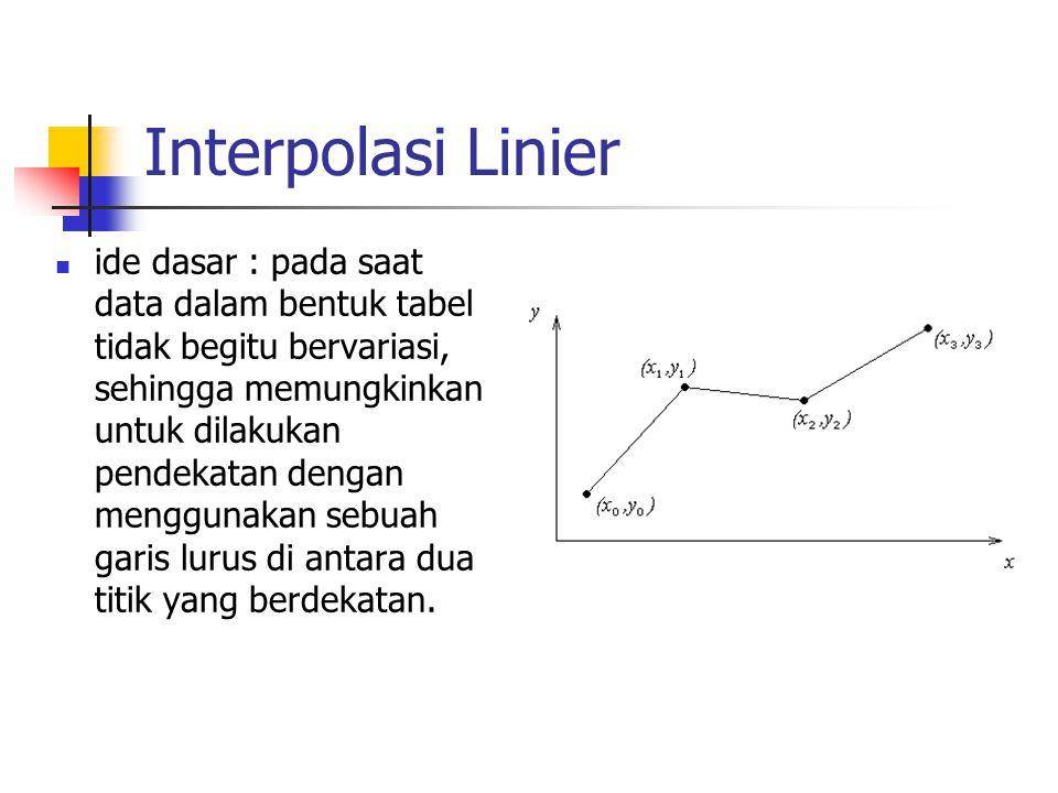 Interpolasi Linier ide dasar : pada saat data dalam bentuk tabel tidak begitu bervariasi, sehingga memungkinkan untuk dilakukan pendekatan dengan meng