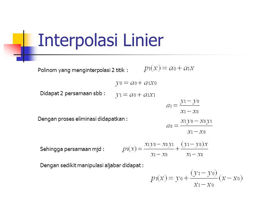 Polinom yang menginterpolasi 2 titik : Didapat 2 persamaan sbb : Dengan proses eliminasi didapatkan : Sehingga persamaan mjd : Dengan sedikit manipula