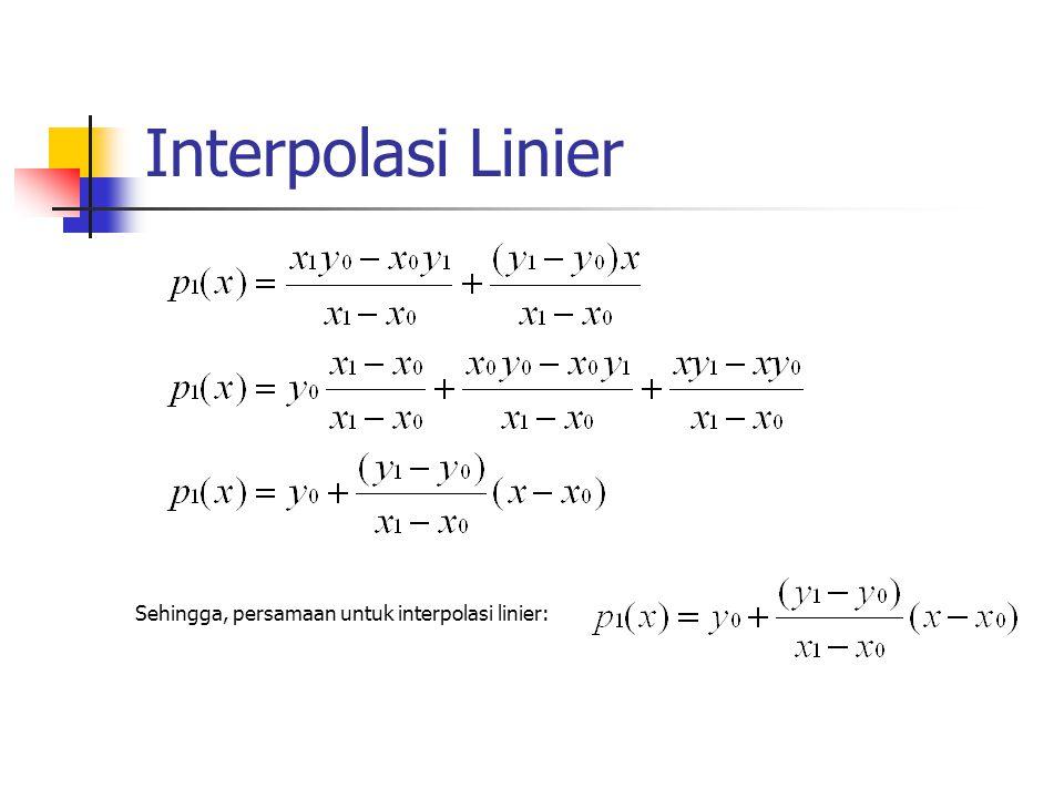 Sehingga, persamaan untuk interpolasi linier: