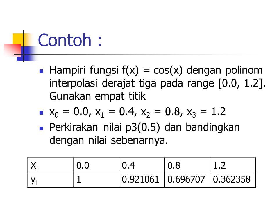 Contoh : Hampiri fungsi f(x) = cos(x) dengan polinom interpolasi derajat tiga pada range [0.0, 1.2]. Gunakan empat titik x 0 = 0.0, x 1 = 0.4, x 2 = 0