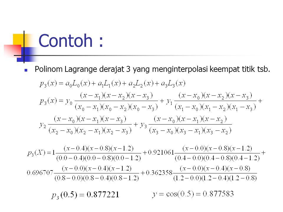 Contoh : Polinom Lagrange derajat 3 yang menginterpolasi keempat titik tsb.
