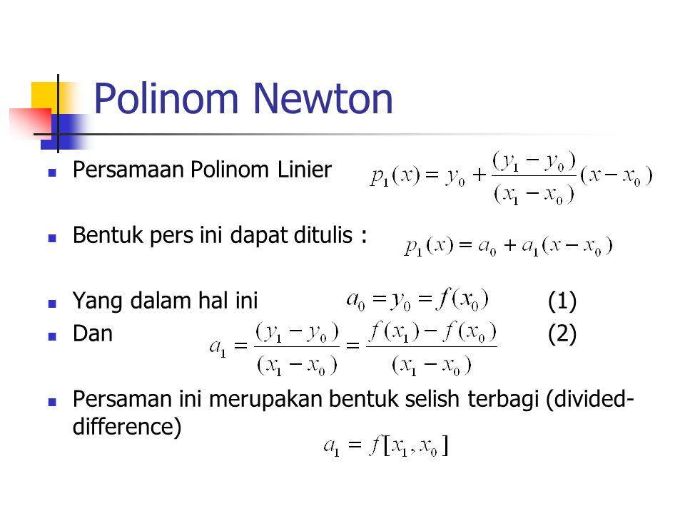 Polinom Newton Persamaan Polinom Linier Bentuk pers ini dapat ditulis : Yang dalam hal ini (1) Dan (2) Persaman ini merupakan bentuk selish terbagi (d