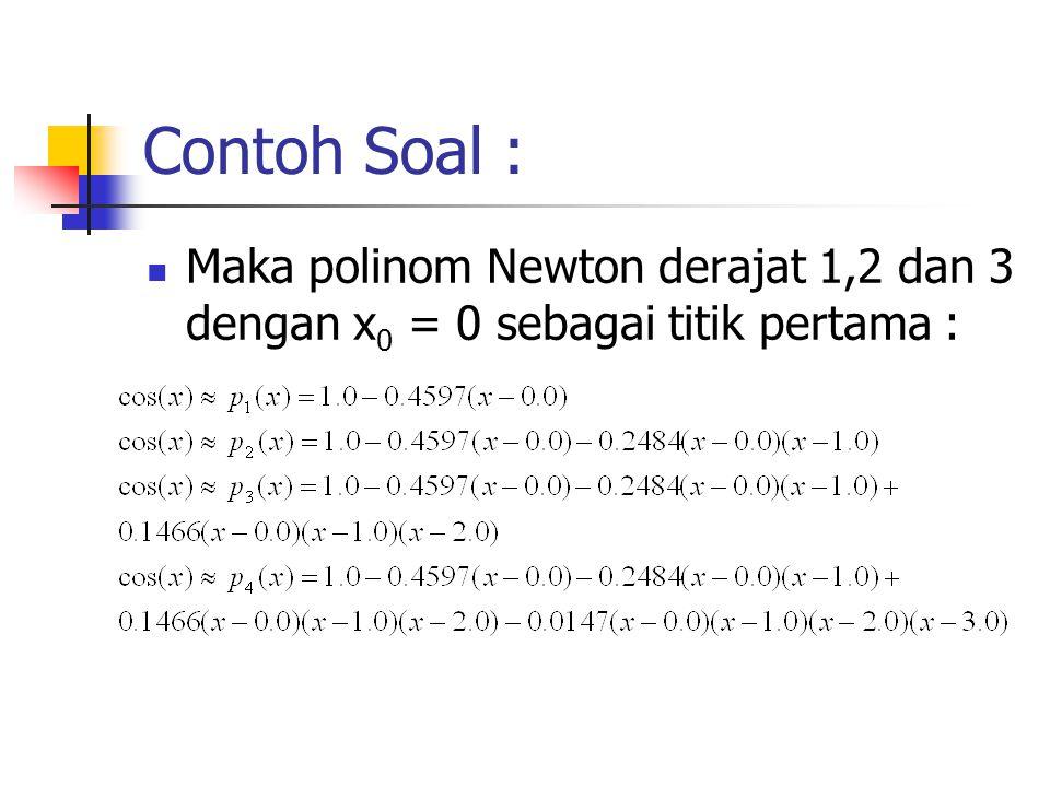 Contoh Soal : Maka polinom Newton derajat 1,2 dan 3 dengan x 0 = 0 sebagai titik pertama :