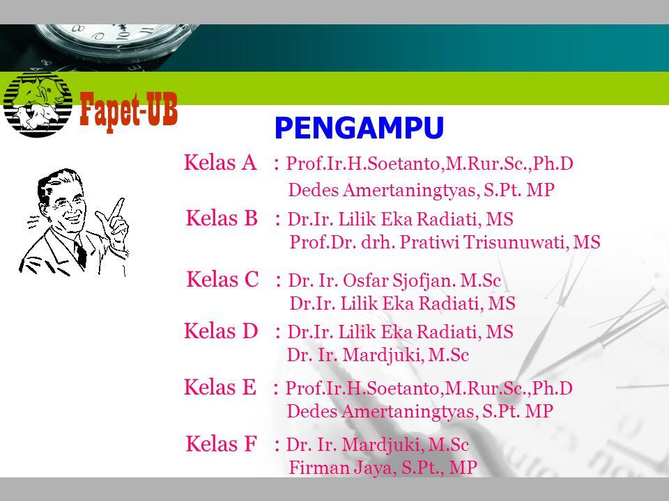 Company name Fapet-UB PENGAMPU Kelas A : Prof.Ir.H.Soetanto,M.Rur.Sc.,Ph.D Dedes Amertaningtyas, S.Pt.