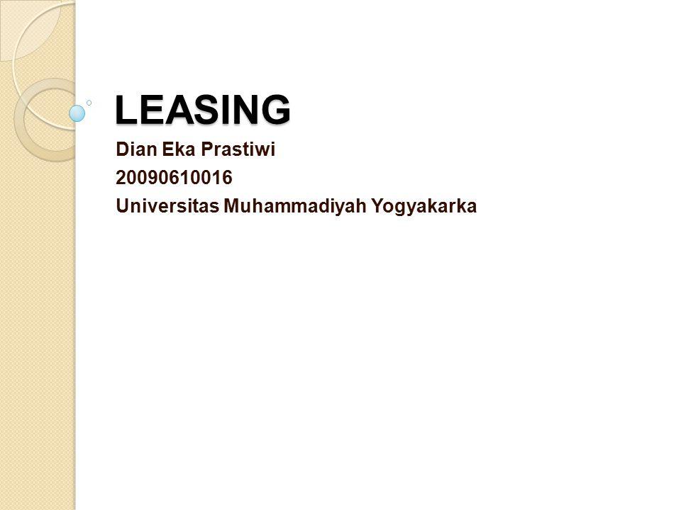 Pengertian Leasing adalah suatu akad untuk menyewa suatu barang dalam kurun waktu tertentu.