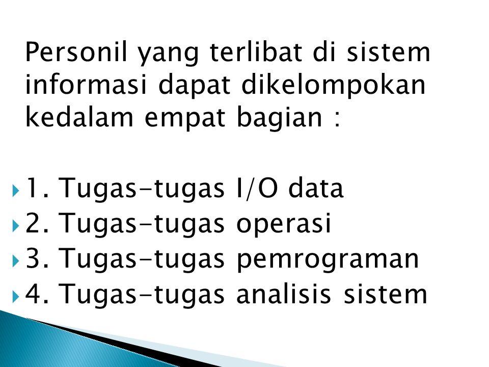 Personil yang terlibat di sistem informasi dapat dikelompokan kedalam empat bagian :  1.