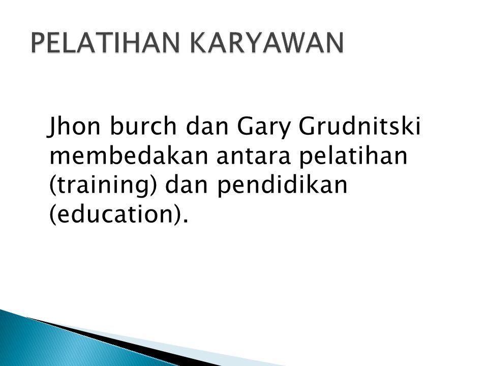 Jhon burch dan Gary Grudnitski membedakan antara pelatihan (training) dan pendidikan (education).