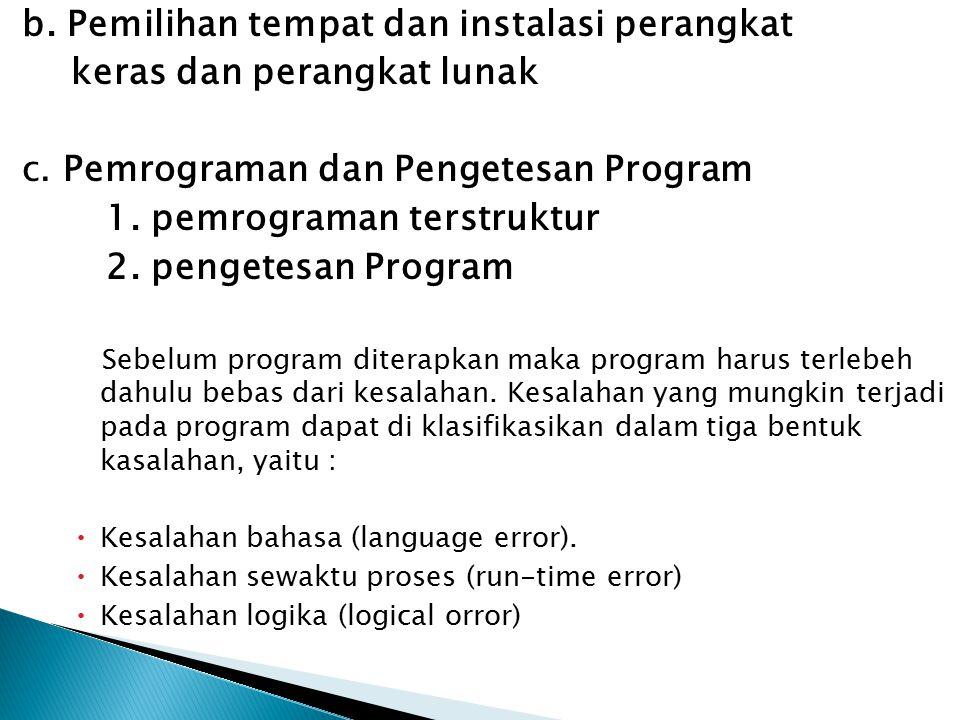 b.Pemilihan tempat dan instalasi perangkat keras dan perangkat lunak c.