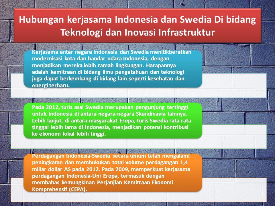 Kerjasama antar negara Indonesia dan Swedia menitikberatkan modernisasi kota dan bandar udara Indonesia, dengan menjadikan mereka lebih ramah lingkung
