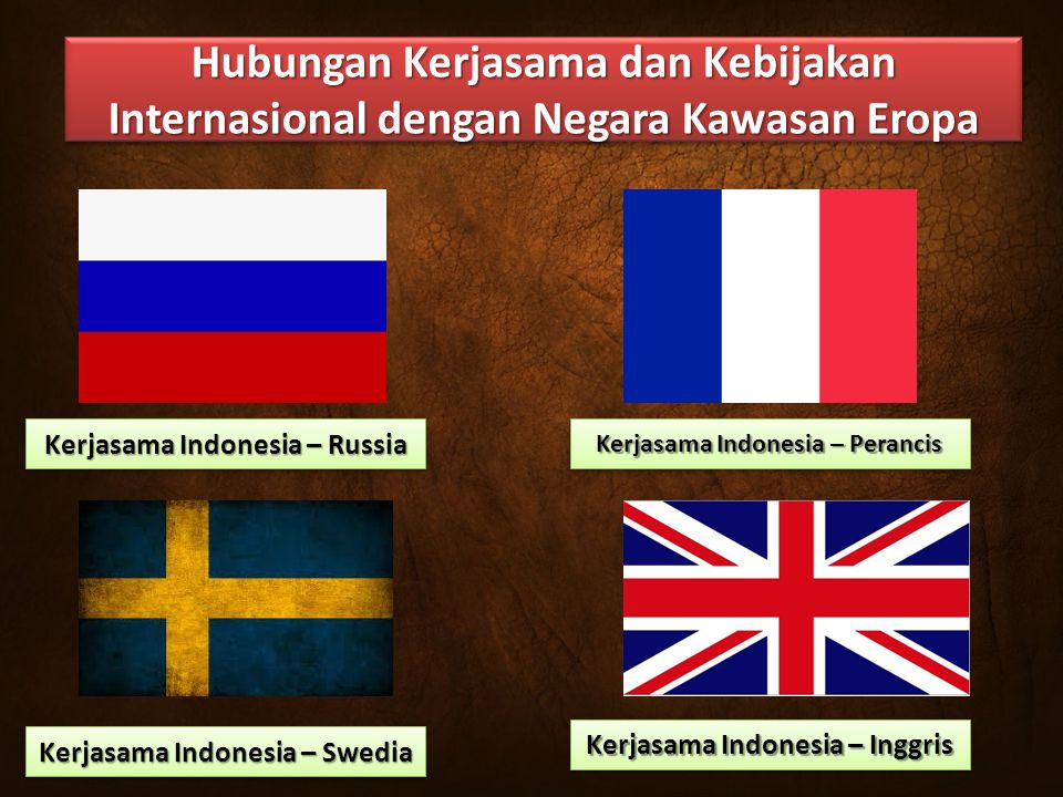 Hubungan Kerjasama dan Kebijakan Internasional dengan Negara Kawasan Eropa Kerjasama Indonesia – Russia Kerjasama Indonesia – Perancis Kerjasama Indonesia – Swedia Kerjasama Indonesia – Inggris