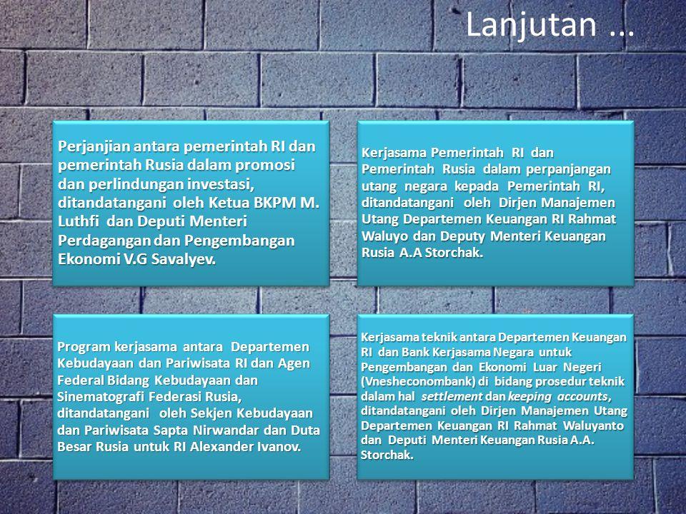 Perjanjian internasional di bidang militer pada kurun waktu 2004-2009 Minutes of Meeting Between the Republic of Indonesia and the Russian Federation to Promote Bilateral Cooperation in Defense and Security.