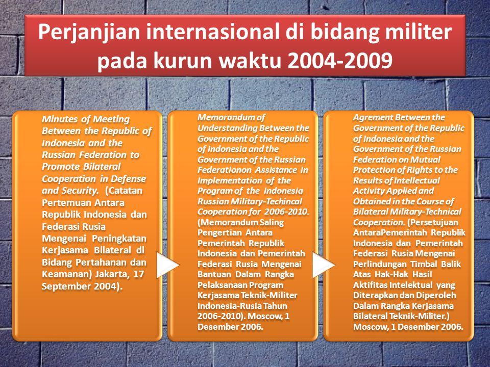 Perjanjian internasional di bidang militer pada kurun waktu 2004-2009 Minutes of Meeting Between the Republic of Indonesia and the Russian Federation