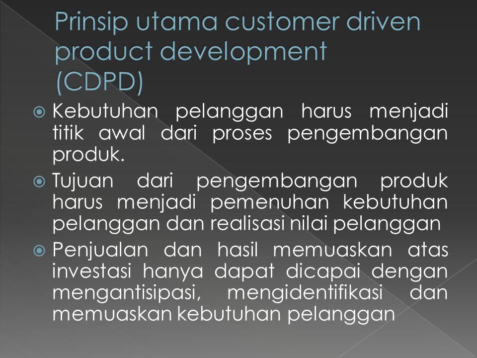  Kebutuhan pelanggan harus menjadi titik awal dari proses pengembangan produk.  Tujuan dari pengembangan produk harus menjadi pemenuhan kebutuhan pe