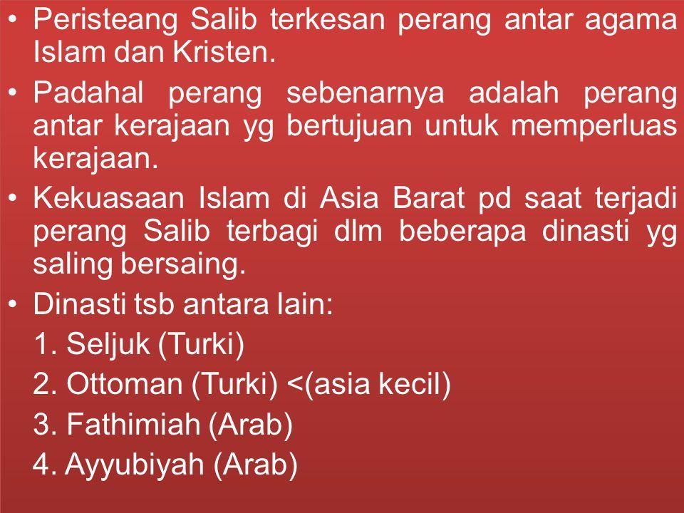Peristeang Salib terkesan perang antar agama Islam dan Kristen. Padahal perang sebenarnya adalah perang antar kerajaan yg bertujuan untuk memperluas k