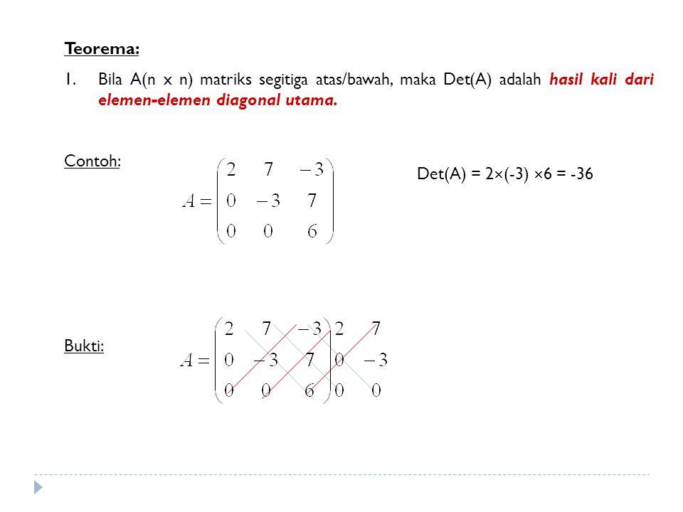 Teorema: 1.Bila A(n x n) matriks segitiga atas/bawah, maka Det(A) adalah hasil kali dari elemen-elemen diagonal utama. Contoh: Bukti: Det(A) = 2  (-3