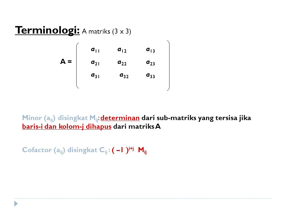 Terminologi: A matriks (3 x 3) Minor (a ij ) disingkat M ij : determinan dari sub-matriks yang tersisa jika baris-i dan kolom-j dihapus dari matriks A