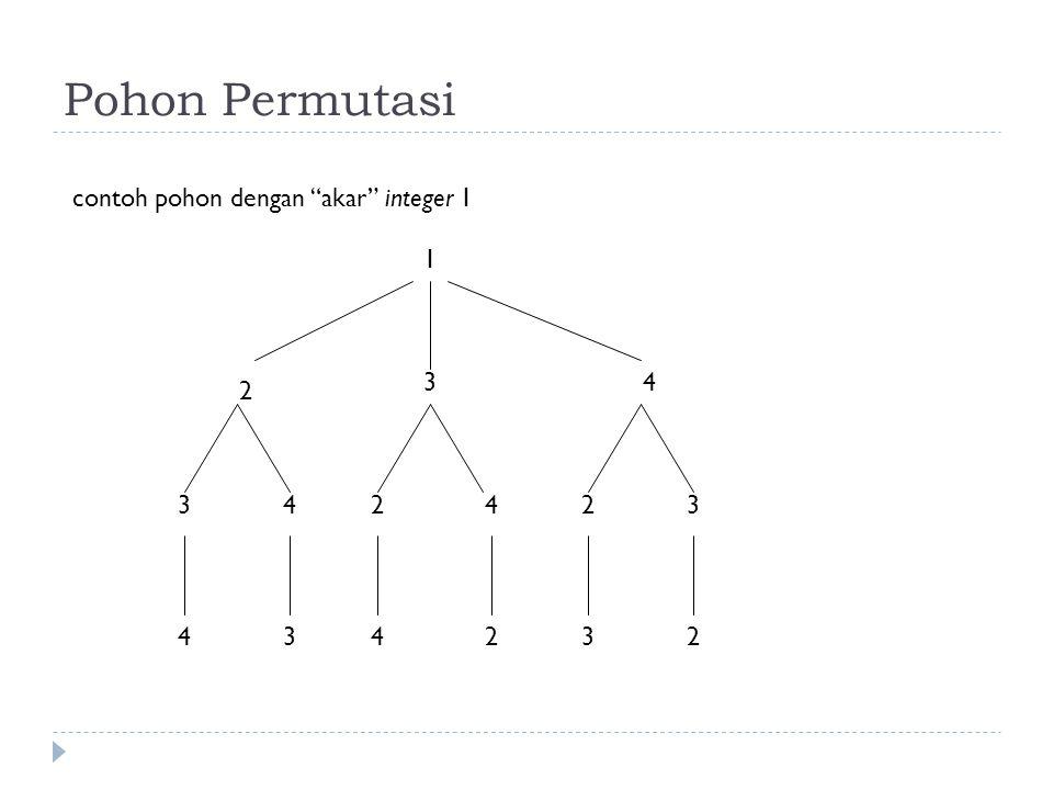 Permutasi himpunan integer {1, 2, 3, …, n}: Susunan elemen-elemen integer ini dengan urutan tertentu; tidak ada integer yang dihapus dan tidak ada integer yang diulang (j 1, j 2, j 3, …, j n ) Inversi dalam permutasi (j 1, j 2, j 3, …, j n ) terjadi jika integer yang lebih besar mendahului integer yang lebih kecil.
