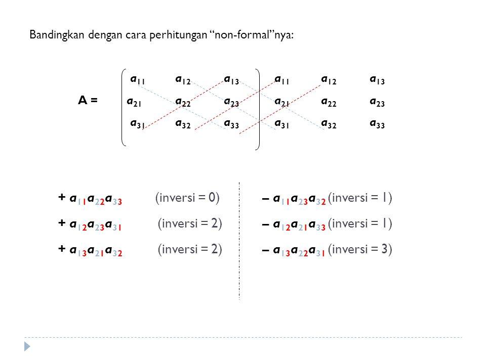 """Bandingkan dengan cara perhitungan """"non-formal""""nya: a 11 a 12 a 13 a 11 a 12 a 13 A = a 21 a 22 a 23 a 21 a 22 a 23 a 31 a 32 a 33 a 31 a 32 a 33 + a"""