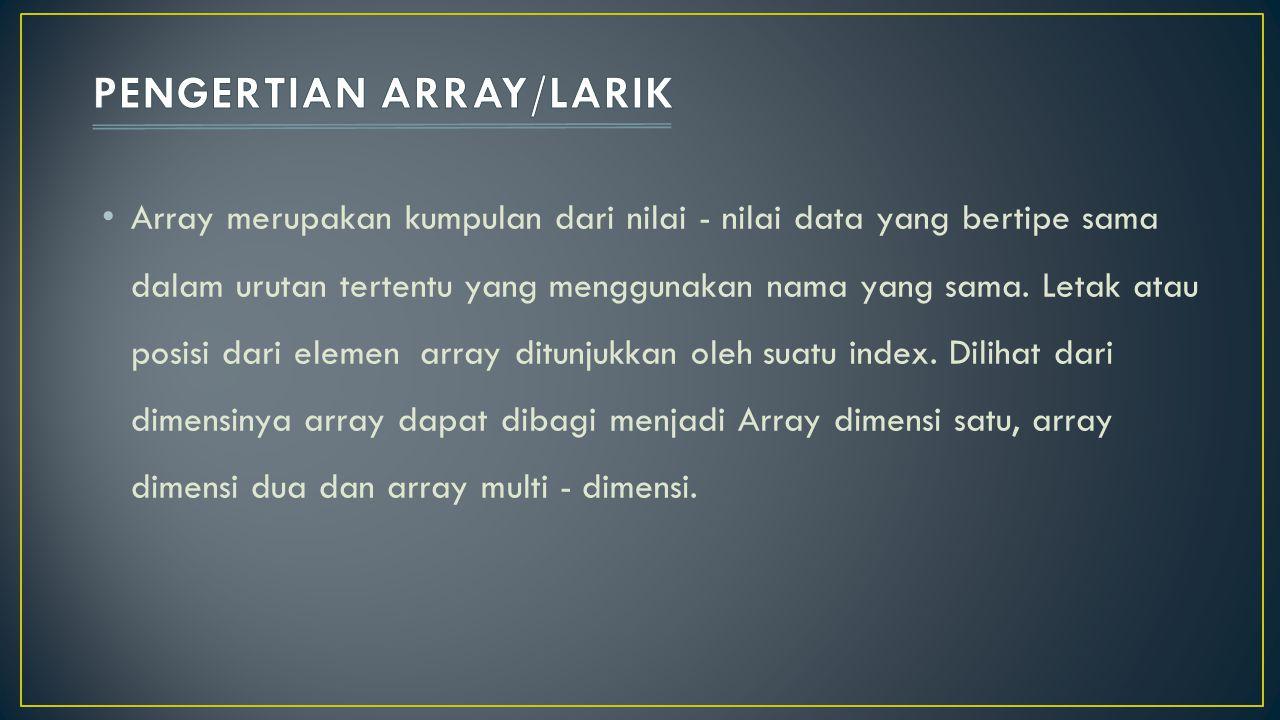 Setiap elemen array dapat diakses melalui indeks Indeks array secara default dimulai dari 0.