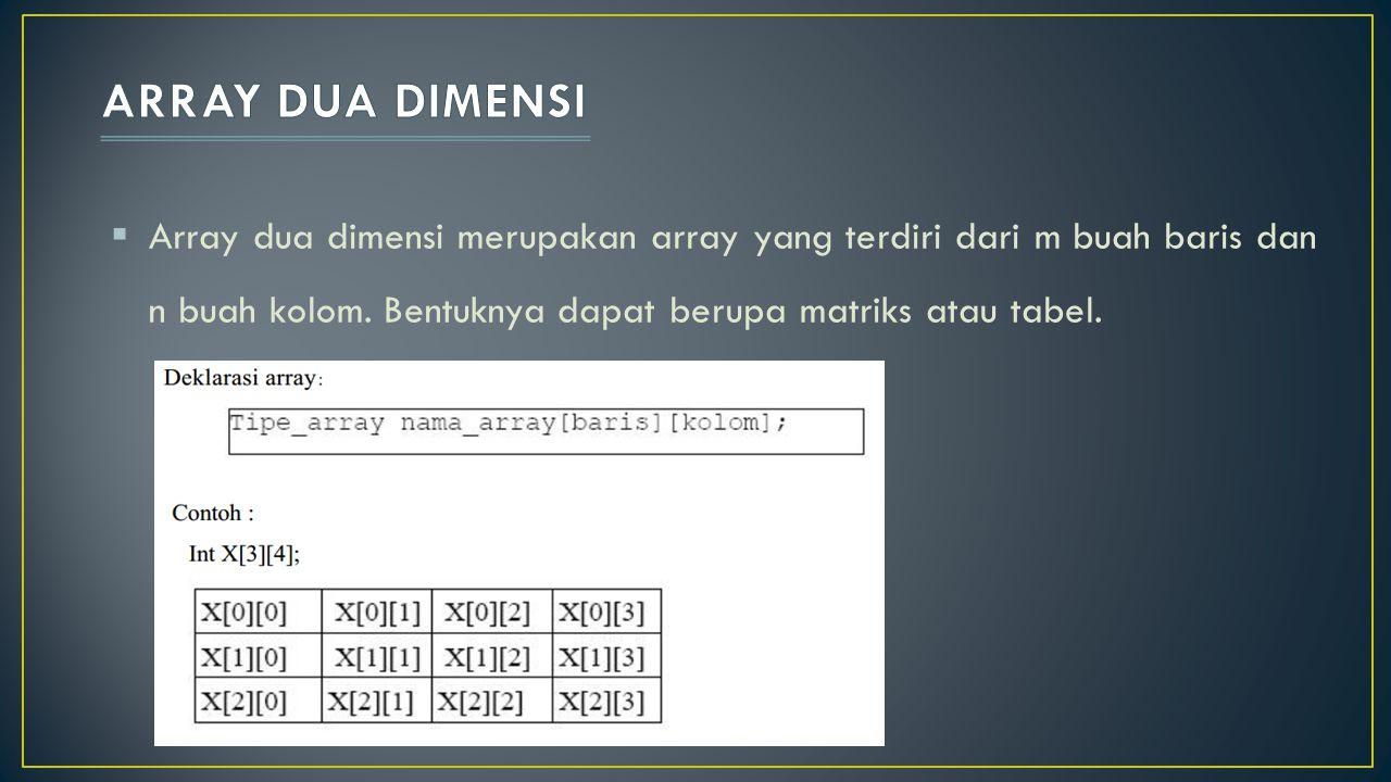  Array dua dimensi merupakan array yang terdiri dari m buah baris dan n buah kolom. Bentuknya dapat berupa matriks atau tabel.