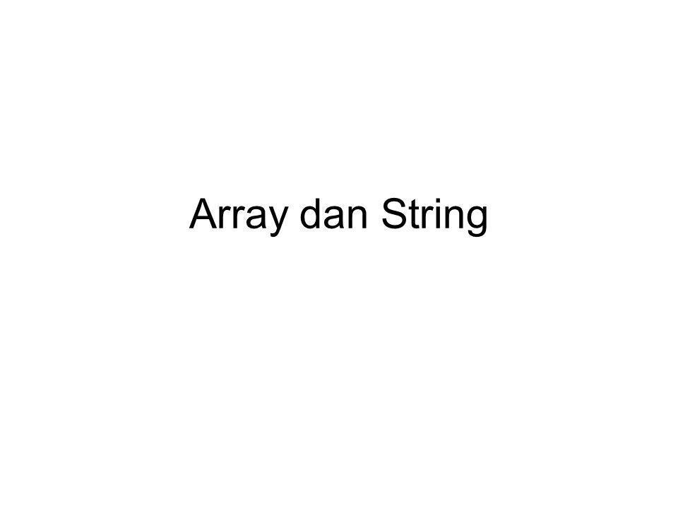 Array Kumpulan beberapa elemen data dengan tipe yang sama dan dipanggil dengan nama yang sama Deklarasi array pada program: unsigned short int arrayku[5]; Berarti variabel arrayku memiliki 5 buah elemen data dengan tipe unsigned short int 16 bit arrayku[0] arrayku[1]arrayku[3]arrayku[2]arrayku[4]