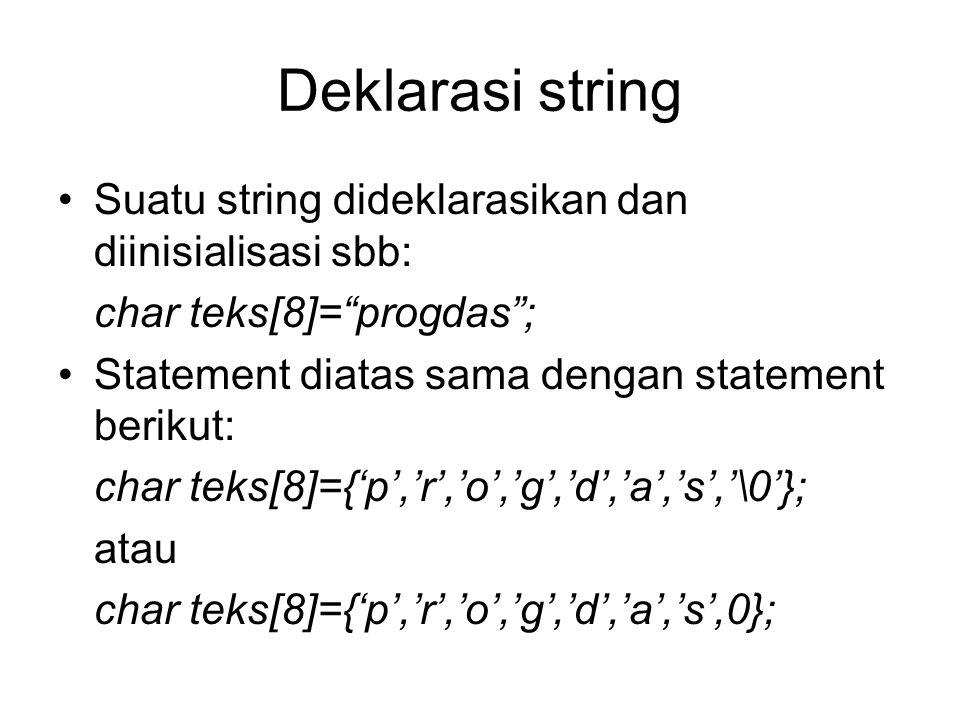 """Deklarasi string Suatu string dideklarasikan dan diinisialisasi sbb: char teks[8]=""""progdas""""; Statement diatas sama dengan statement berikut: char teks"""