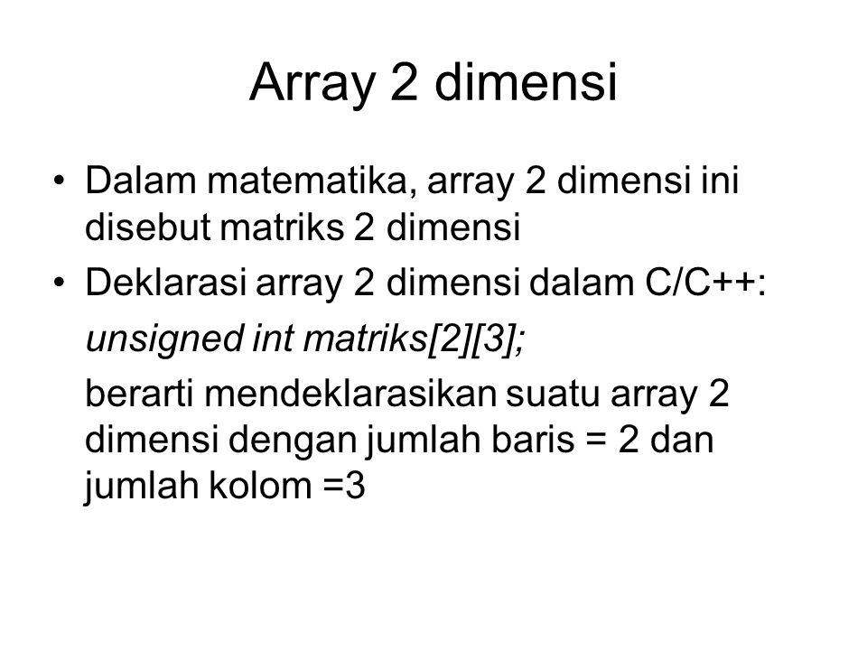 Array 2 dimensi Dalam matematika, array 2 dimensi ini disebut matriks 2 dimensi Deklarasi array 2 dimensi dalam C/C++: unsigned int matriks[2][3]; ber