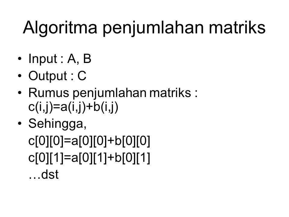 Algoritma penjumlahan matriks Input : A, B Output : C Rumus penjumlahan matriks : c(i,j)=a(i,j)+b(i,j) Sehingga, c[0][0]=a[0][0]+b[0][0] c[0][1]=a[0][