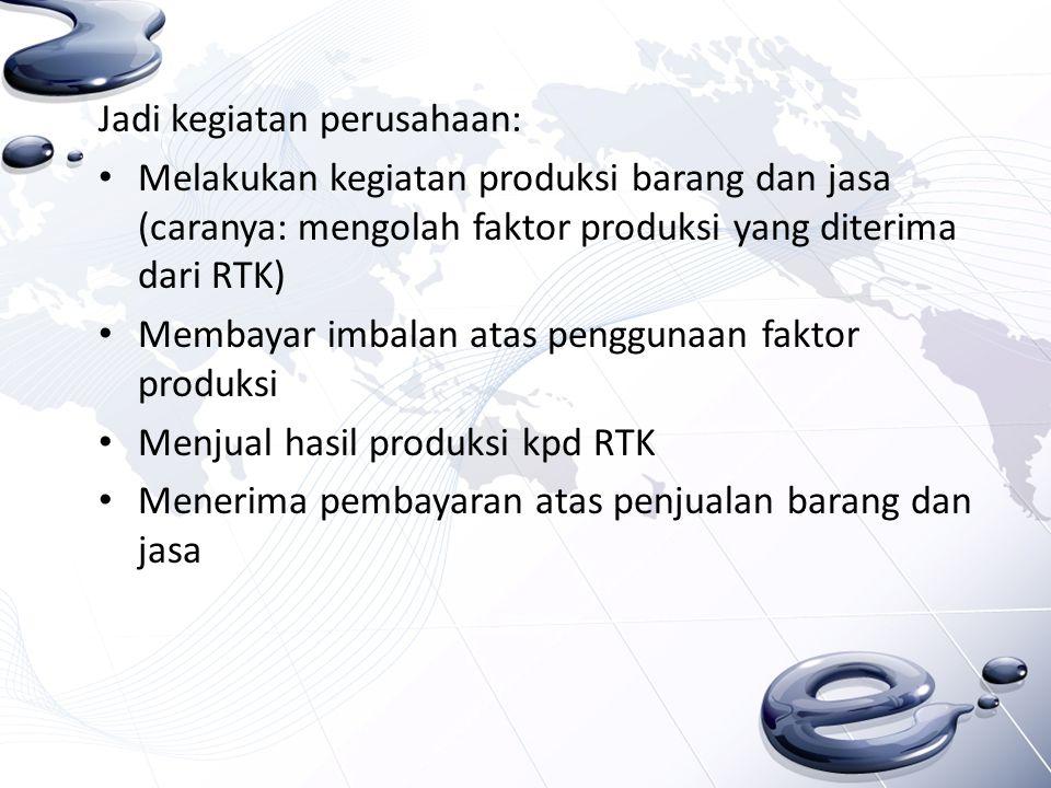 Jadi kegiatan perusahaan: Melakukan kegiatan produksi barang dan jasa (caranya: mengolah faktor produksi yang diterima dari RTK) Membayar imbalan atas