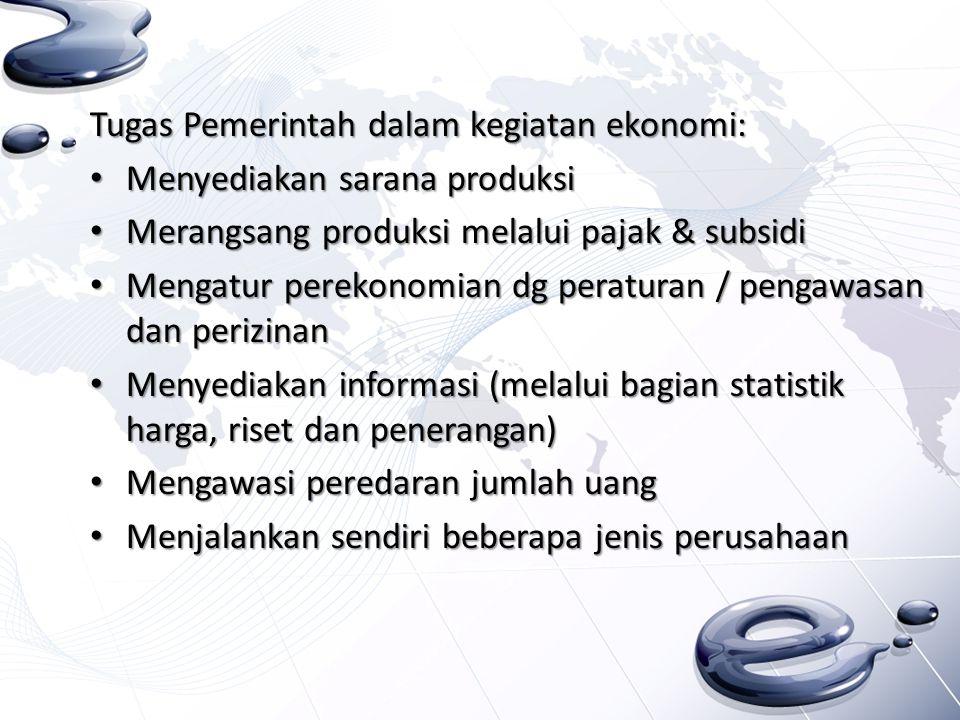 Tugas Pemerintah dalam kegiatan ekonomi: Menyediakan sarana produksi Menyediakan sarana produksi Merangsang produksi melalui pajak & subsidi Merangsan