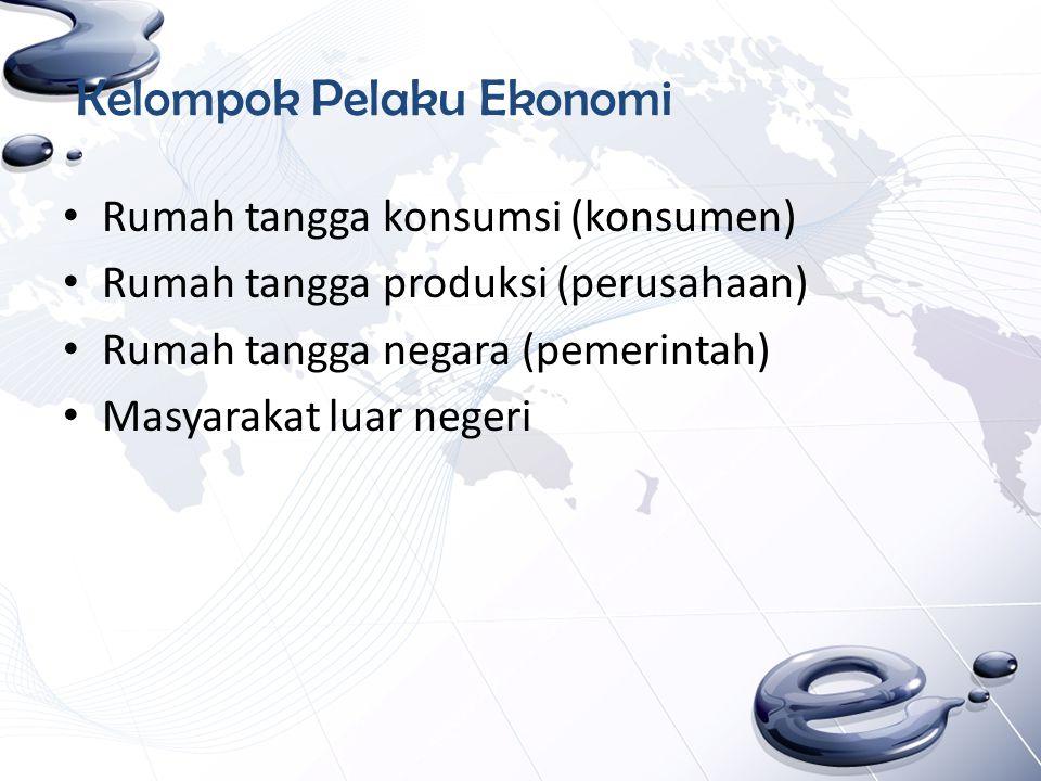 Kelompok Pelaku Ekonomi Rumah tangga konsumsi (konsumen) Rumah tangga produksi (perusahaan) Rumah tangga negara (pemerintah) Masyarakat luar negeri