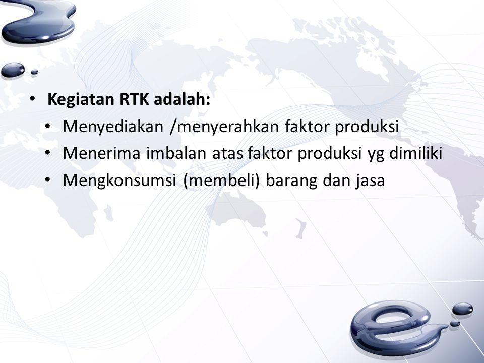 Kegiatan RTK adalah: Menyediakan /menyerahkan faktor produksi Menerima imbalan atas faktor produksi yg dimiliki Mengkonsumsi (membeli) barang dan jasa