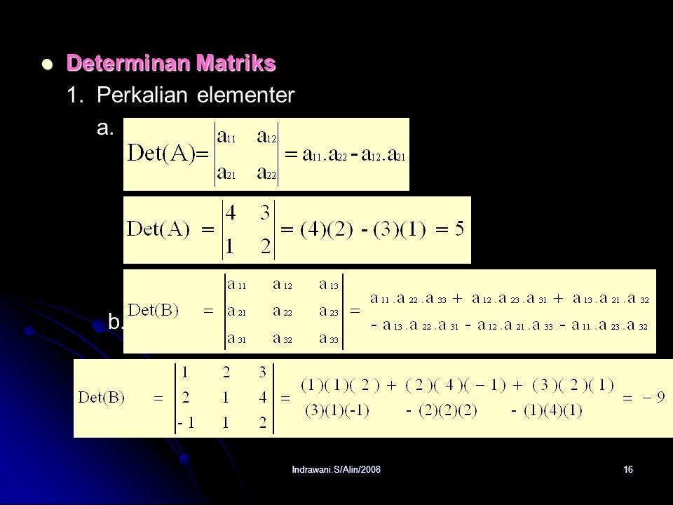 Indrawani.S/Alin/200815 Determinan Determinan Determinan : suatu fungsi khusus yg mengasosiasikan suatu bilangan real dengan suatu matriks bujur sangk