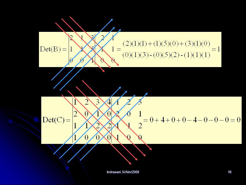 Indrawani.S/Alin/200817 2. Aturan Sarrus Aturan Sarrus digunakan untuk mencari determinan matriks orde 3 atau lebih. Contoh: