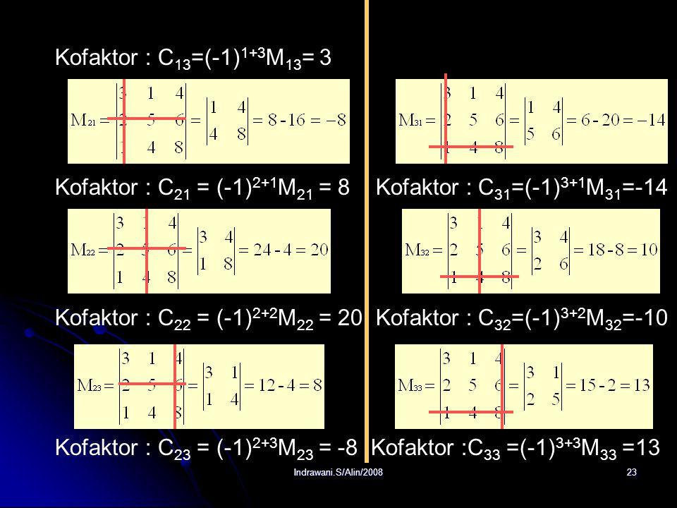 Indrawani.S/Alin/200822 Penyelesaian : a. Minor matriks Kofaktor : C 11 = (-1) 1+1 M 11 = 16 Kofaktor : C 12 =(-1) 1+2 M 12 = -10