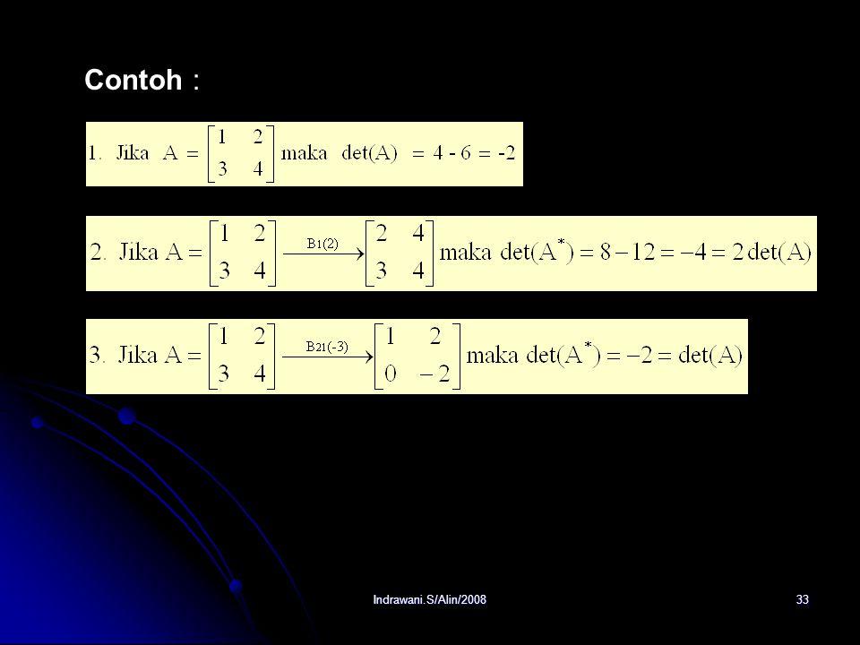 Indrawani.S/Alin/200832 Teorema : Misalkan A adalah sembarang matriks n x n. Jika : 1. A * adalah matriks yg dihasilkan bila sebuah baris tunggal dari