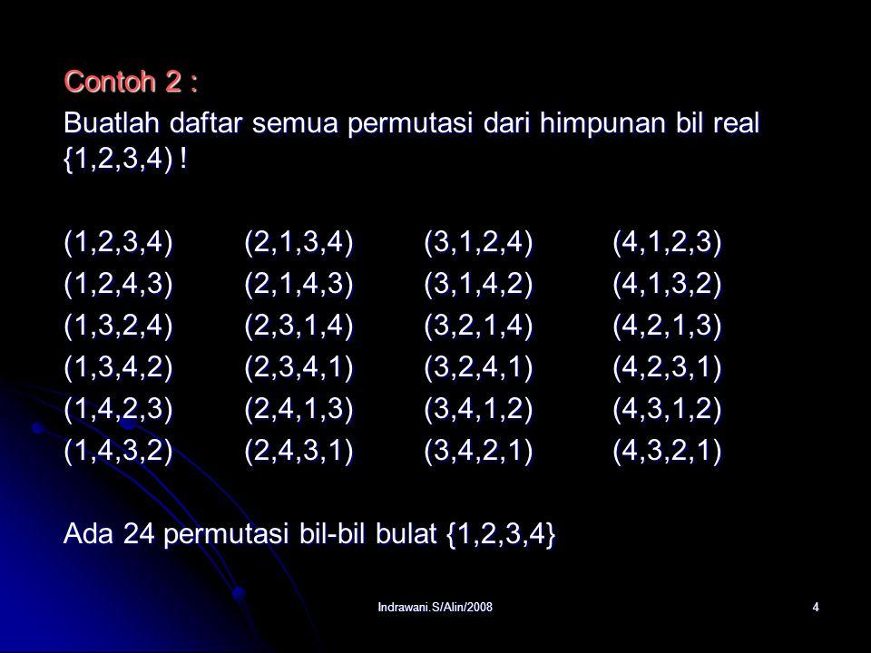 Indrawani.S/Alin/20084 Contoh 2 : Buatlah daftar semua permutasi dari himpunan bil real {1,2,3,4) .