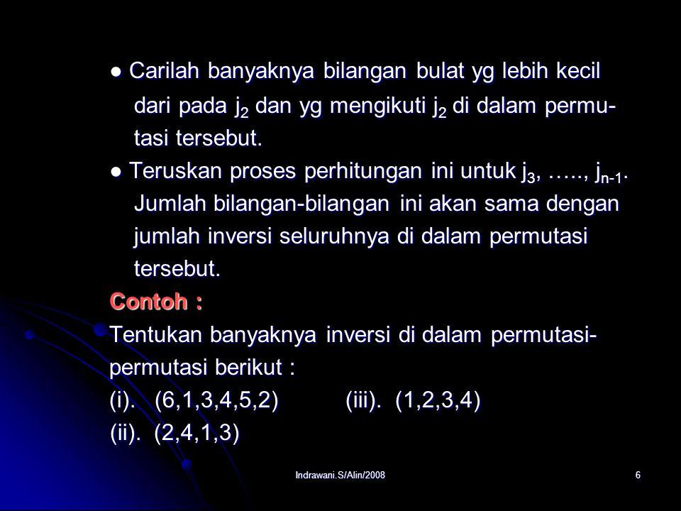 Indrawani.S/Alin/20085 2. Inversi Definisi : Definisi : Jika dalam suatu permutasi angka yang besar mendahului angka yang lebih kecil maka dikatakan p