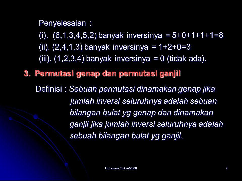 Indrawani.S/Alin/20087 Penyelesaian : (i).(6,1,3,4,5,2) banyak inversinya = 5+0+1+1+1=8 (ii).