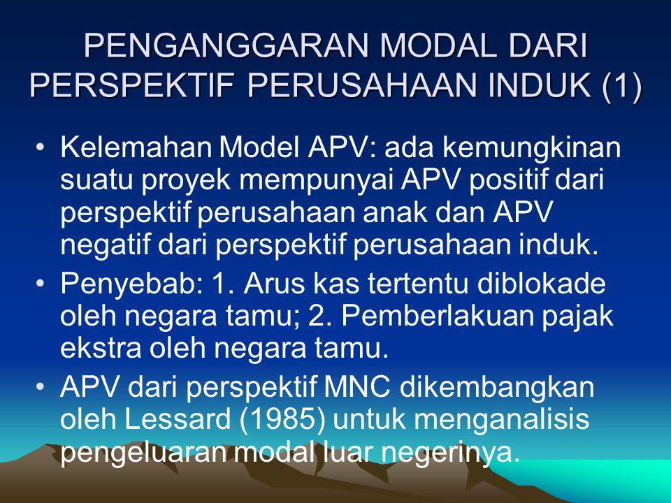 PENGANGGARAN MODAL DARI PERSPEKTIF PERUSAHAAN INDUK (1) Kelemahan Model APV: ada kemungkinan suatu proyek mempunyai APV positif dari perspektif perusa