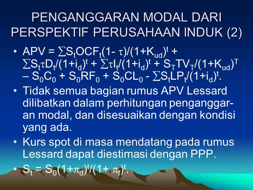 PENGANGGARAN MODAL DARI PERSPEKTIF PERUSAHAAN INDUK (2) APV =  S t OCF t (1-  )/(1+K ud ) t +  S t  D t /(1+i d ) t +  I t /(1+i d ) t + S T TV