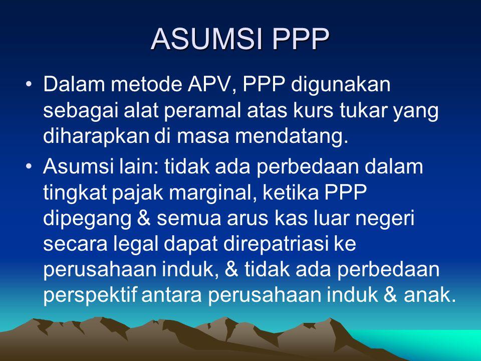 ASUMSI PPP Dalam metode APV, PPP digunakan sebagai alat peramal atas kurs tukar yang diharapkan di masa mendatang. Asumsi lain: tidak ada perbedaan da