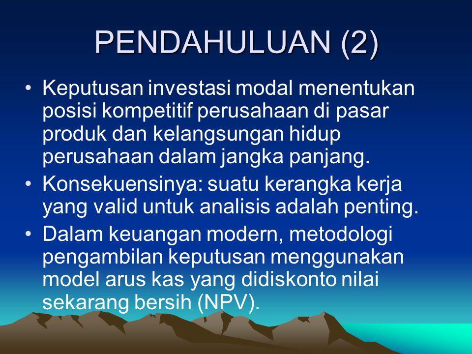 PENDAHULUAN (2) Keputusan investasi modal menentukan posisi kompetitif perusahaan di pasar produk dan kelangsungan hidup perusahaan dalam jangka panja